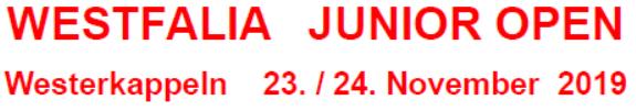 WESTFALIA JUNIOR OPEN am 23./24. November 2019